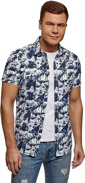 oodji Ultra Hombre Camisa Estampada de Manga Corta: Amazon.es: Ropa y accesorios