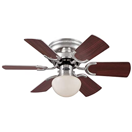 Westinghouse 7800500 Petite Single-Light Reversible Six-Blade Indoor Ceiling Fan with Opal Mushroom Glass, 30-Inch, Brushed Nickel Finish - - Amazon.com
