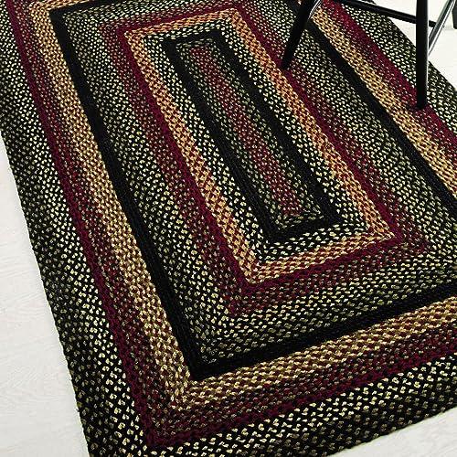 IHF Home Decor Tartan Country Style Braided Rug Rectangle Area Floor Carpet for Outdoor, Indoor, Porch, Dormitory, Farmhouse, Garden 100 Jute Natural Fiber – Diameter 4 x 6