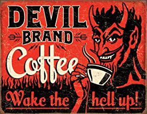 "Desperate Enterprises Devil Brand Coffee Tin Sign, 16"" W x 12.5"" H"