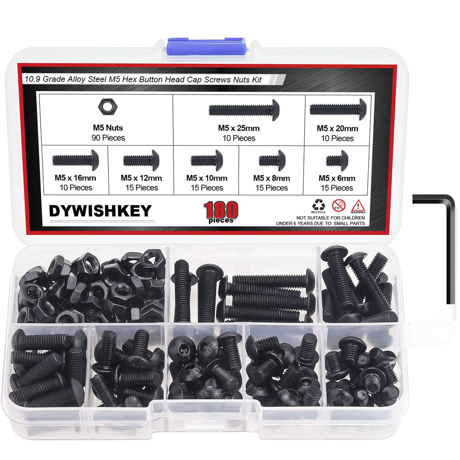 DYWISHKEY 180 Pieces M5 x 6mm/8mm/10mm/12mm/16mm/20mm/25mm, 10.9 Grade Alloy Steel Hex Button Head Cap Bolts Nuts Kit with Hex Wrench
