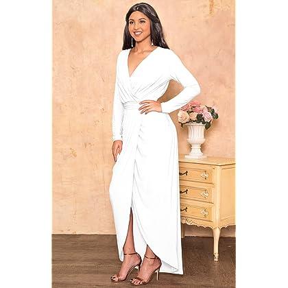 1d155964bdc ... KOH KOH Petite Womens Long Sleeve Full Length V-Neck Sexy Wrap Empire  Waist Formal ...