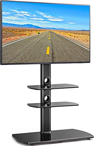 FITUEYES Universal Floor TV Stand with Swivel Mount Tempered Glass Base Shelves for 32 to 65 inch LCD, LED OLED TVs TT306501GB, Black