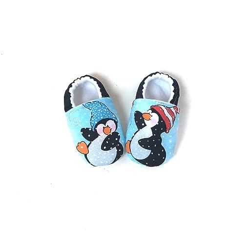 cda7f4acdbc06 Amazon.com: Christmas Baby Shoes, Penguin Booties, Blue Christmas ...
