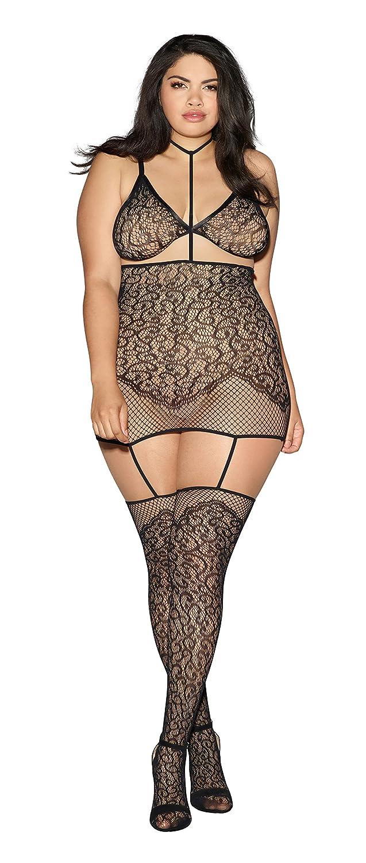 fcf0911c86c Amazon.com  Plus Size Collared Lace Garter Dress Lingerie with Detachable  Bra  Clothing