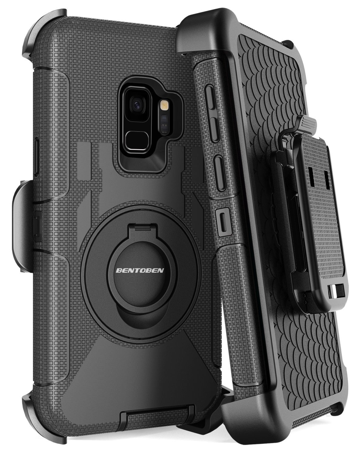Galaxy S9 Case,Samsung S9 Case,BENTOBEN Heavy Duty Shockproof Kickstand Swivel Belt Clip Full Body Rugged Bumper Hybrid Holster Protective Tough Phone Case for Samsung Galaxy S9(2018 Released),Black