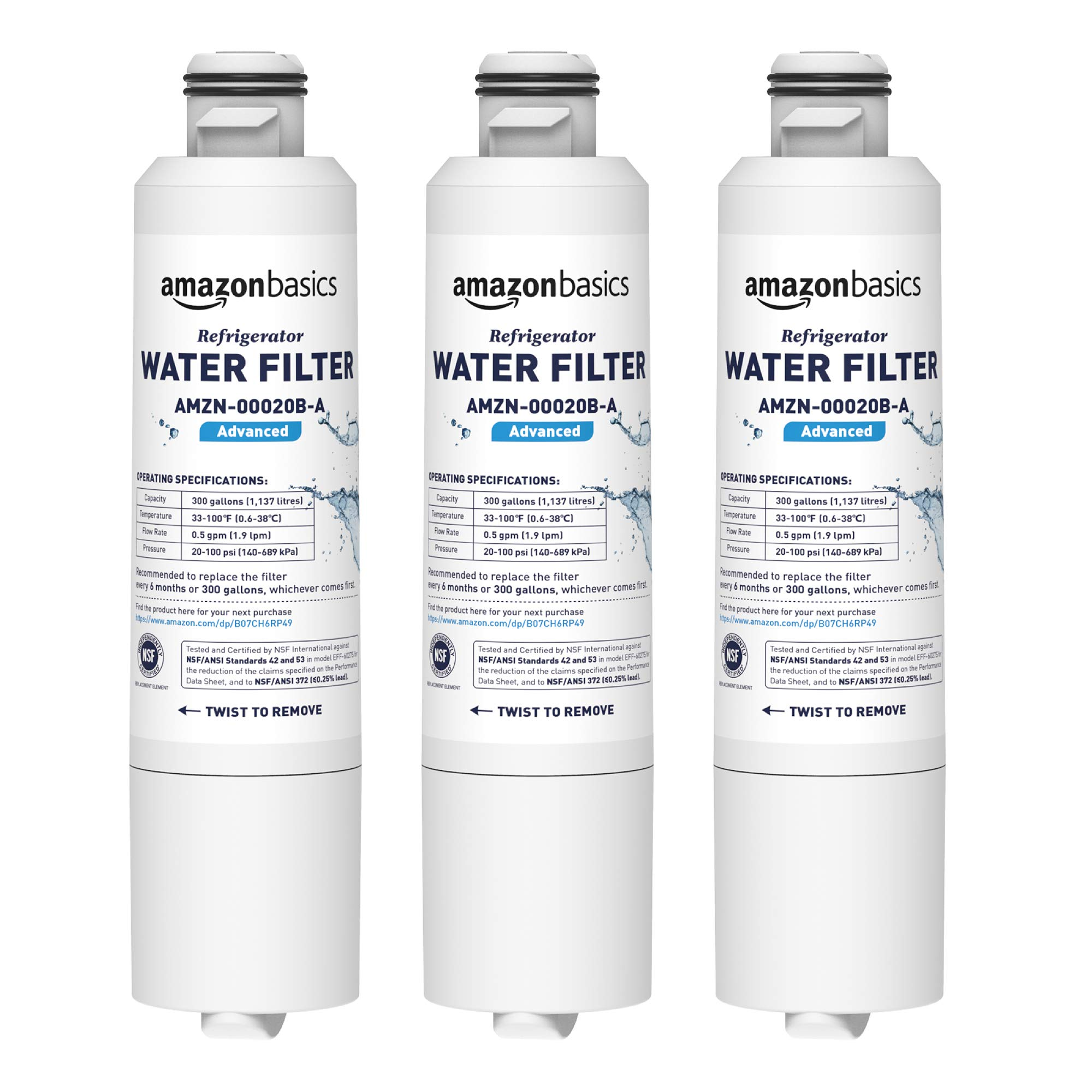 AmazonBasics Replacement Samsung DA29-00020B Refrigerator Water Filter Cartridge - Pack of 3, Advanced Filtration