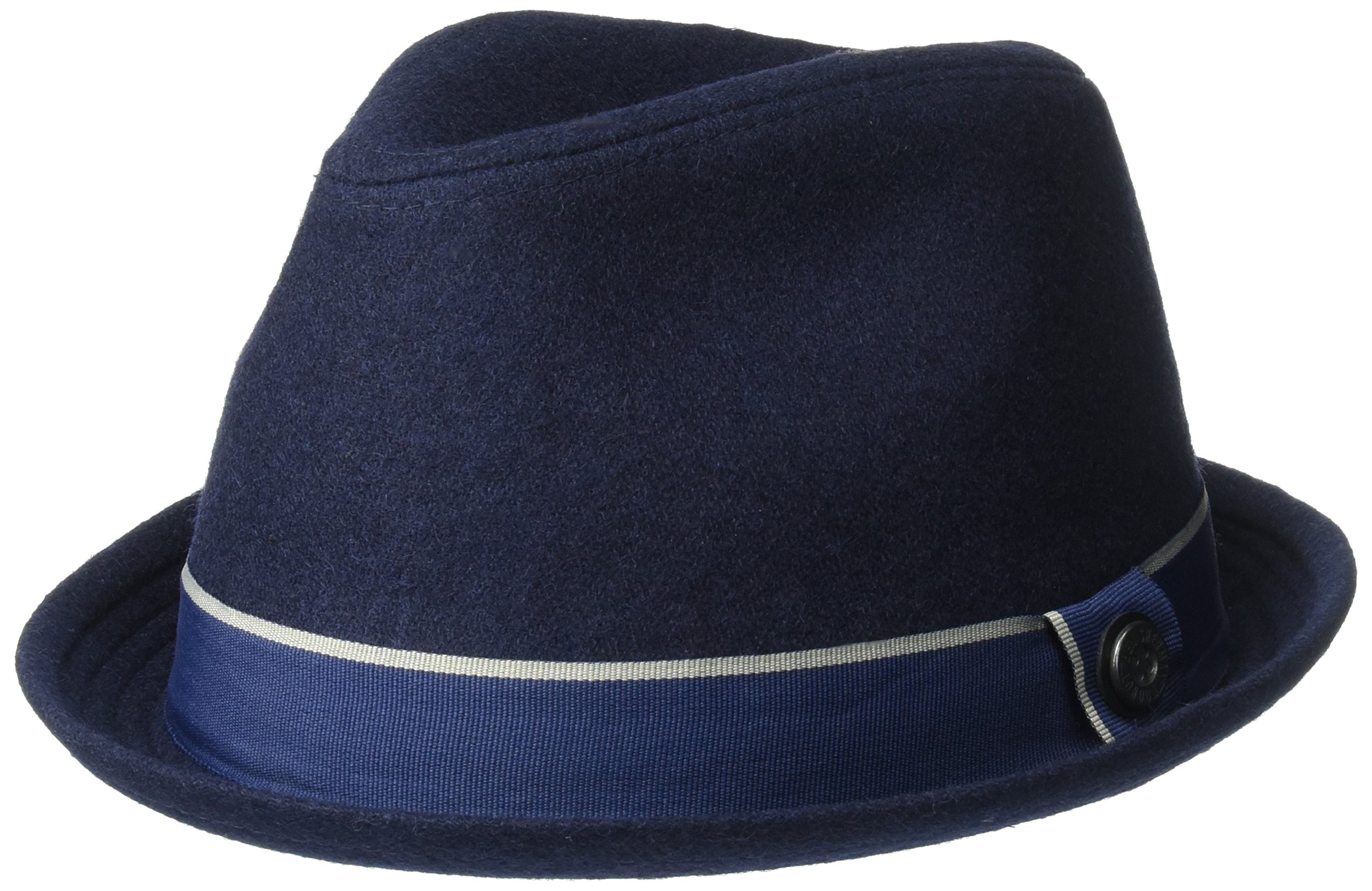 Ben Sherman Men's Melton Wool Trilby with Tipped Band, Navy Blazer, Small/Medium