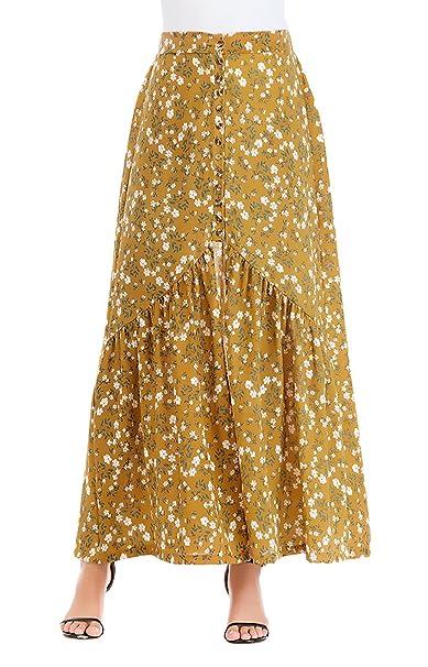 e7d47b5676 Falda Larga Mujer Verano Vintage Elegantes Cintura Alta Impresión Floral  Línea A con Aberturas Casual Playa Maxi Faldas Ropa Retro  Amazon.es  Ropa  y ...