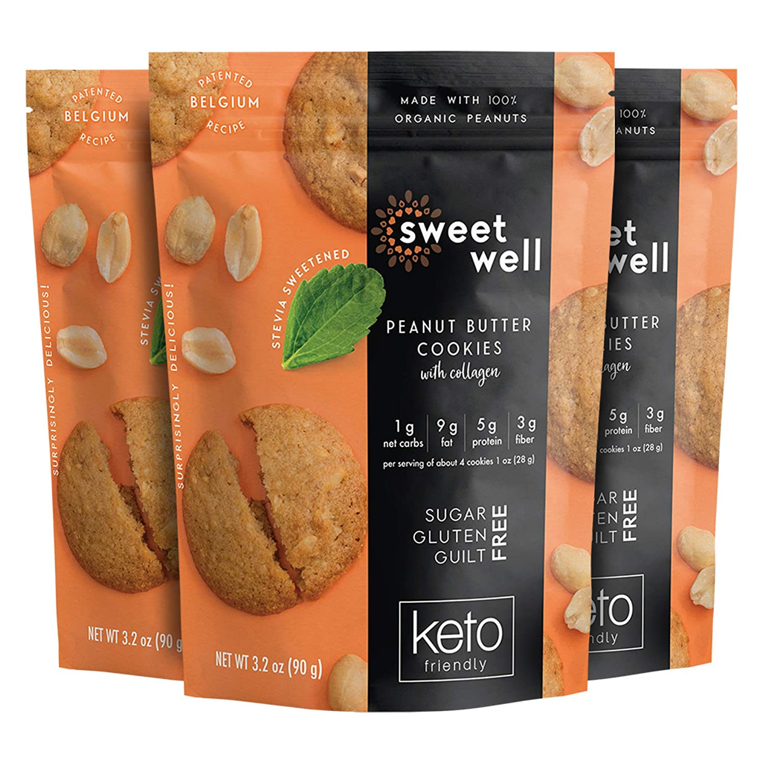 Sweetwell Peanut Butter Cookies, Sugar-Free, Keto-Friendly Snack with Collagen, Stevia-Sweetened Cookie Pack (3-Pack)
