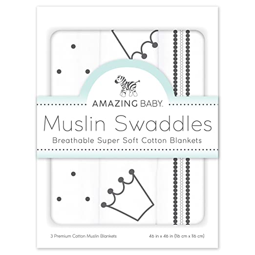 Cotton Muslin Swaddle Blankets, Set of 3, Crowns, Black