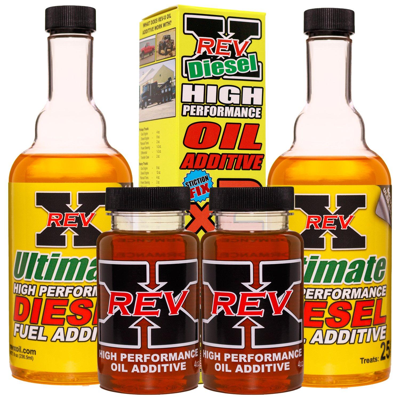 REV-X Super Ultimate Kit for Diesel - 4oz High Performance Oil Additive (2) + 8oz Ultimate Fuel Treatment (2)