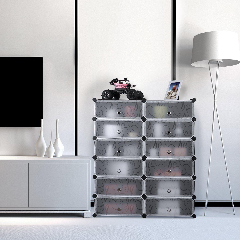 HOMFA Schuhregal Schuhschrank Regalsystem Kunststoff 12 Fächer DIY ...