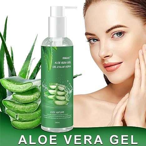Aloe Vera Gel - 100% Bio für Gesicht, Haare und Körper - Natürliche, beruhigende und pflegende Feuchtigkeitscreme - Ideal für