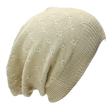 An Fashion Lightweight Slouchy Beanie Knit Hat Eyelet Pattern At