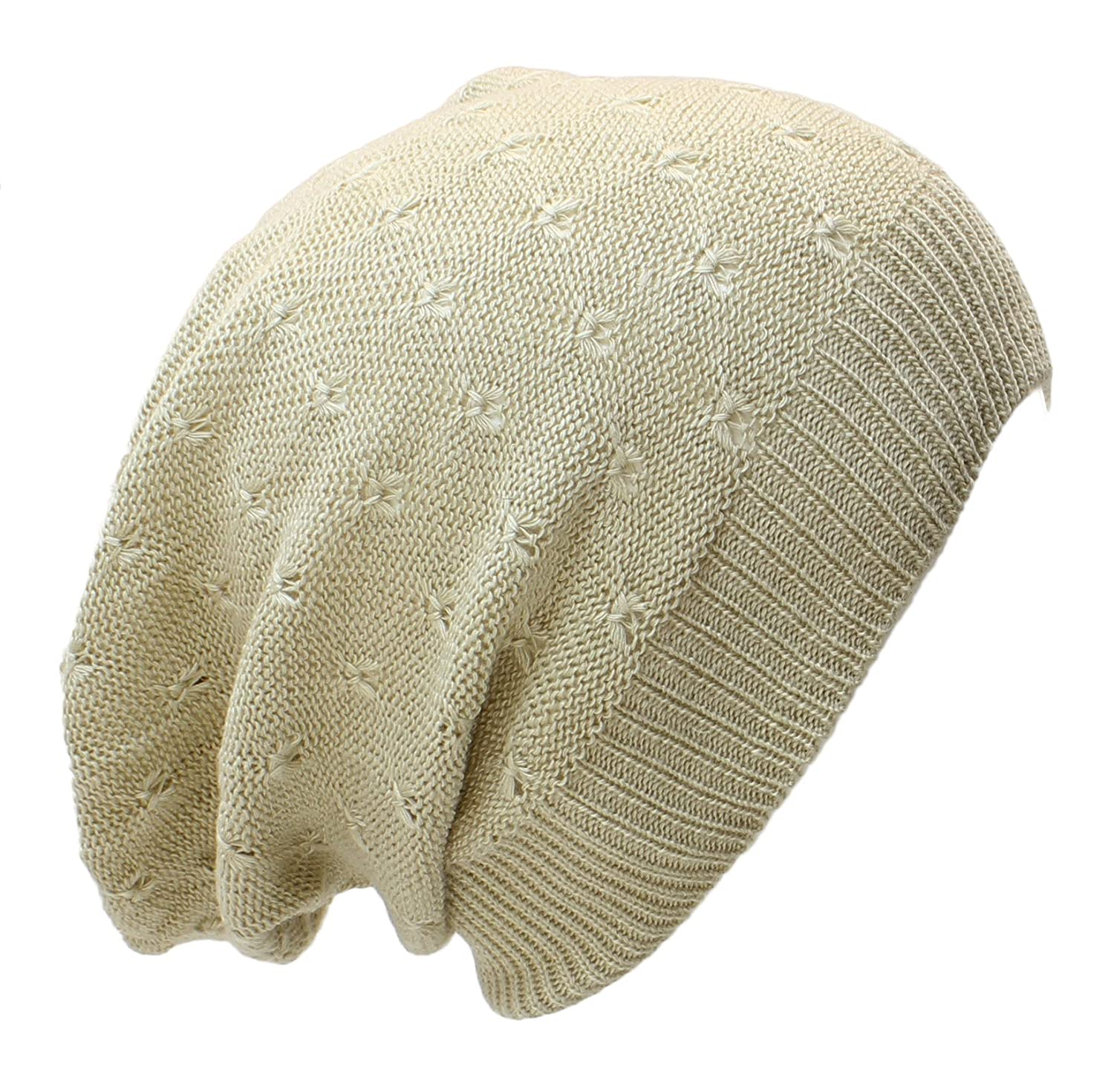 AN Fashion Lightweight Slouchy Beanie Knit Hat Eyelet Pattern (Small to  Large 4384fed9142