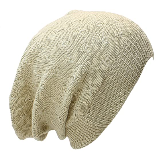 An Fashion Lightweight Slouchy Beanie Knit Hat Eyelet Pattern Small