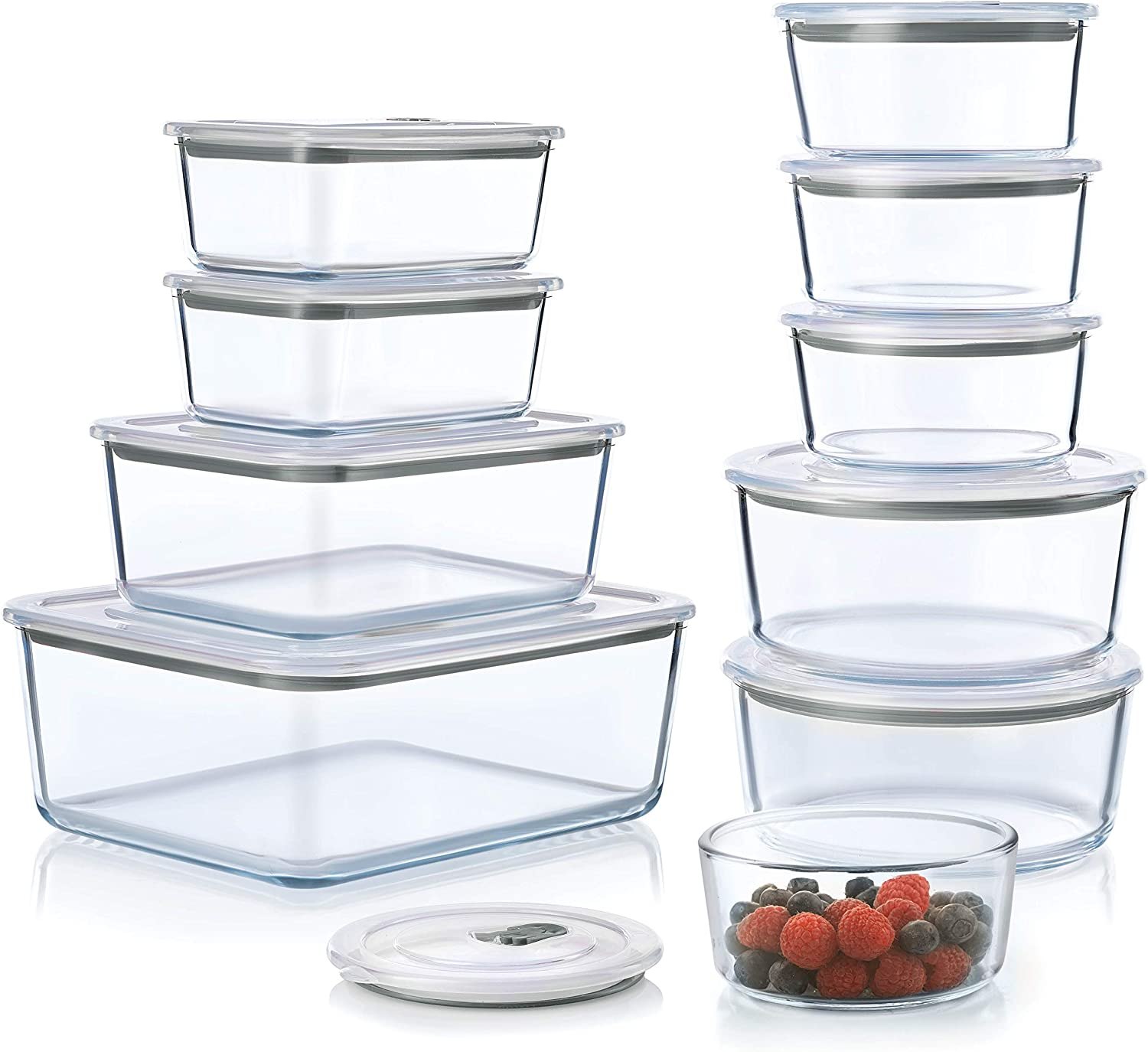 20-Piece Superior Glass Food Storage Containers Set - BPA-free Push in lids -100% Leakproof Glass Meal Prep Containers - Glass storage containers - Great On-the-Go, Freezer & Oven Safe Food Containers