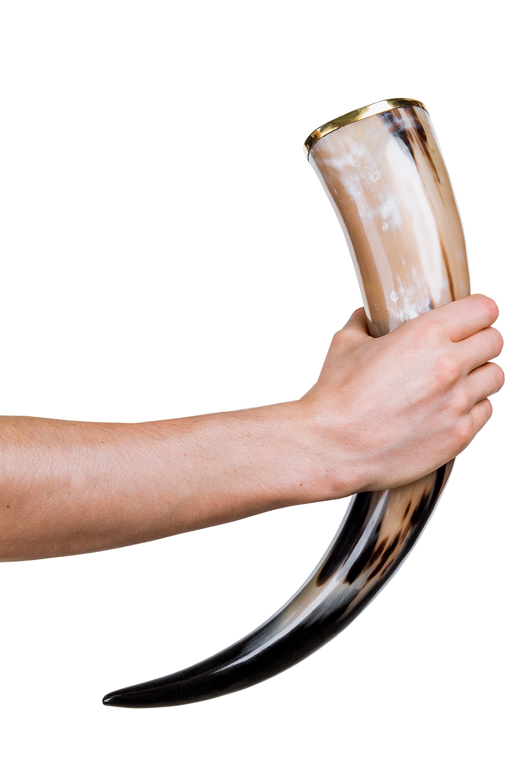 Thor Horn Large Viking Drinking Horn with Metal Stand – Genuine Handcrafted Viking Horn Cup for Mead, Ale and Beer…