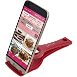 Recipe Holder Stand for Smartphones and Tablets, Keep Your Phone, Kindle, or iPad Convenient While Cooking - Original Kitchen Gadget Phone and Tablet Stand (Red, by Cestari Kitchen)