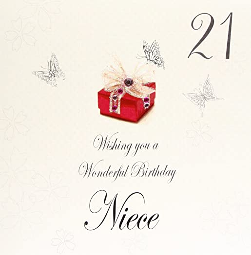 white cotton cards bdp21n Red Present Wishing you a Wonderful – Niece 21st Birthday Cards