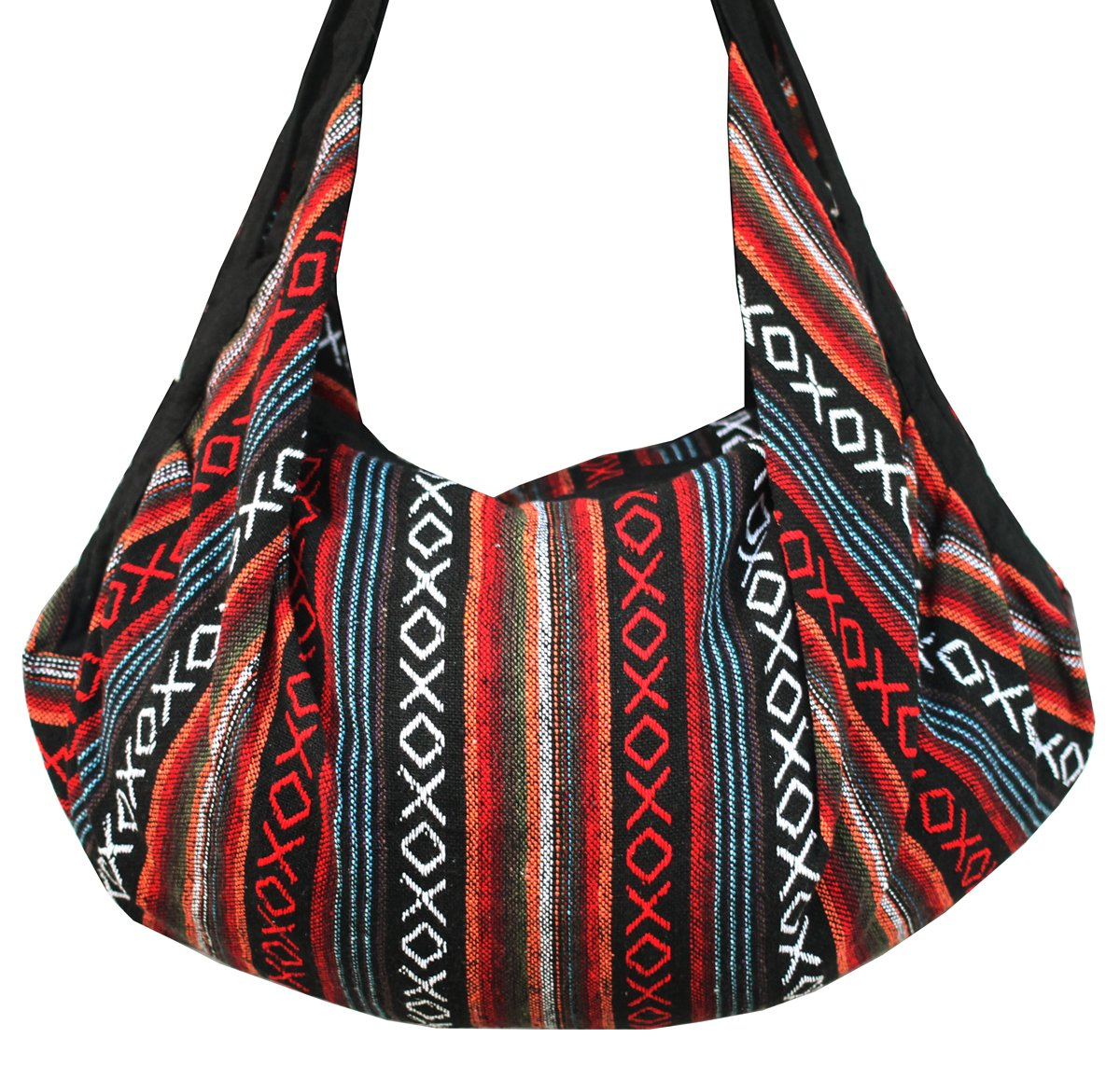 8 AM. Tribal Hmong Striped Ethnic Cotton Boho Sling Shoulder Asia Thai Pattern Crossbody Bag Backpack Top Zip (Stripe Red)