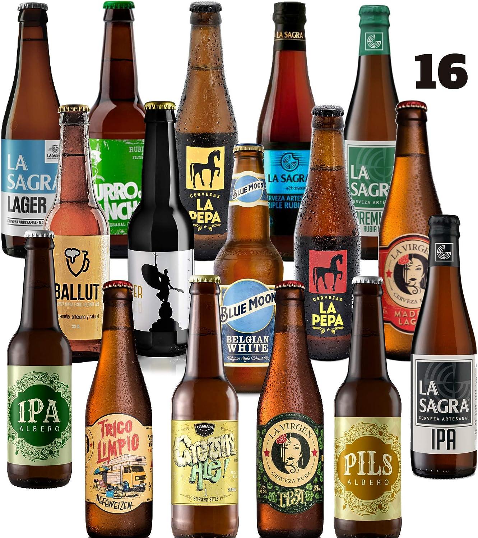 Pack de 16 cervezas artesanas Rubias. El mejor regalo. Incluye La Virgen Madrid, elegida la mejor Lager en los WORLD BEER AWARD