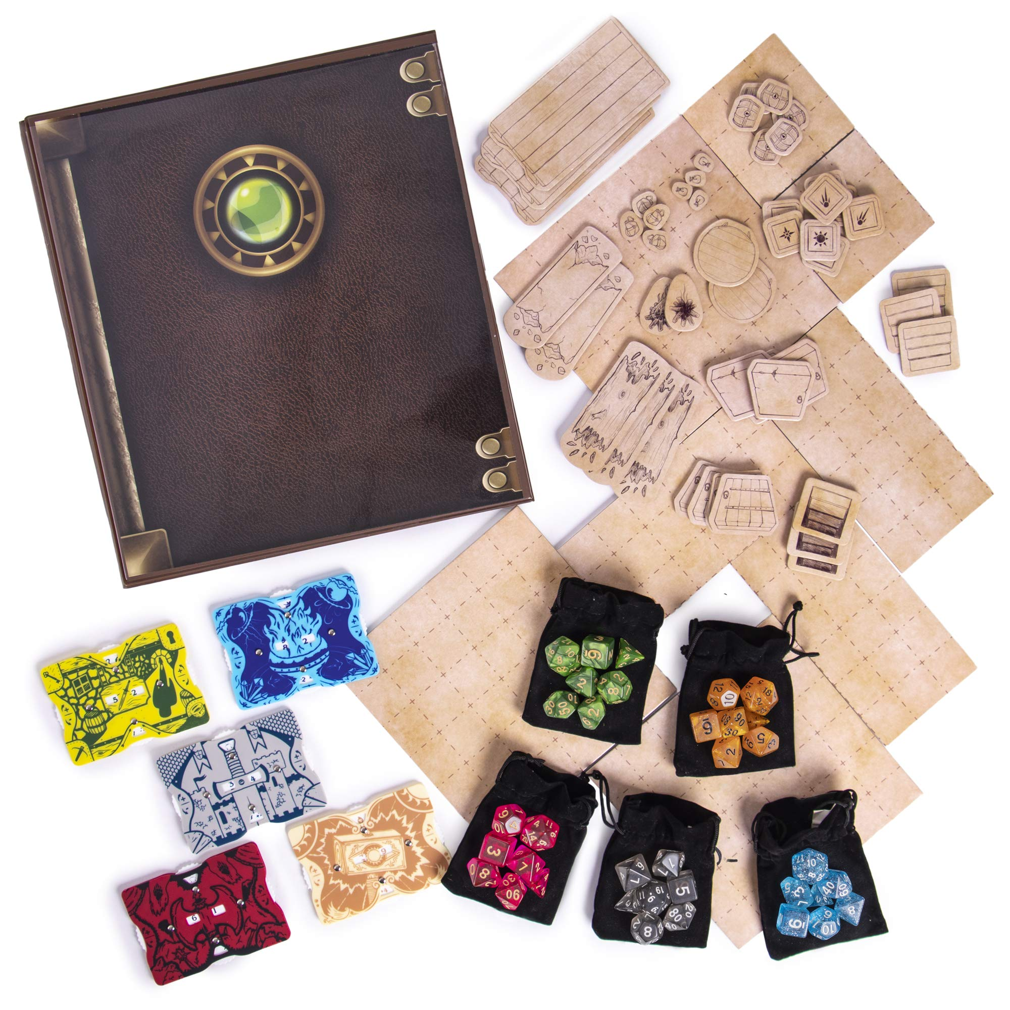 Dungeon Master Essentials: Roleplaying Starter Kit | Customizable GM Screen, 44 Reversible Map Tiles, 5 Character Health Trackers, 5 Polyhedral Dice Sets | Tabletop Fantasy Game Beginner Accessories by Stratagem (Image #7)