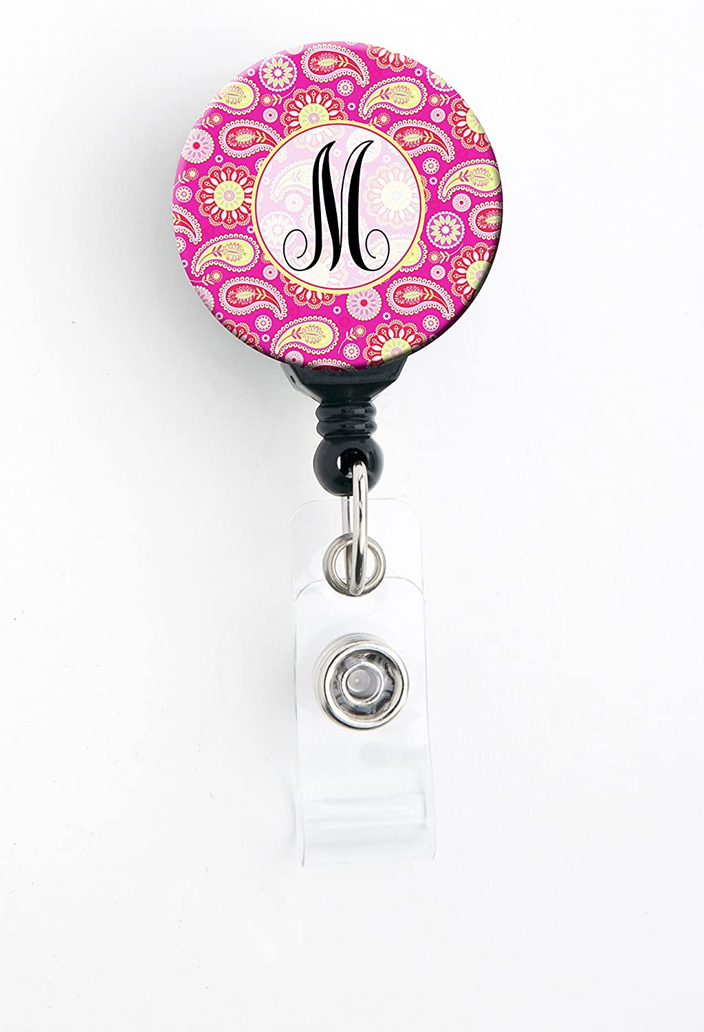 Retractable Badge Reel with Swivel Clip and Extra-Long 34 inch Cord M Initial Pink Paisley Badge Holder