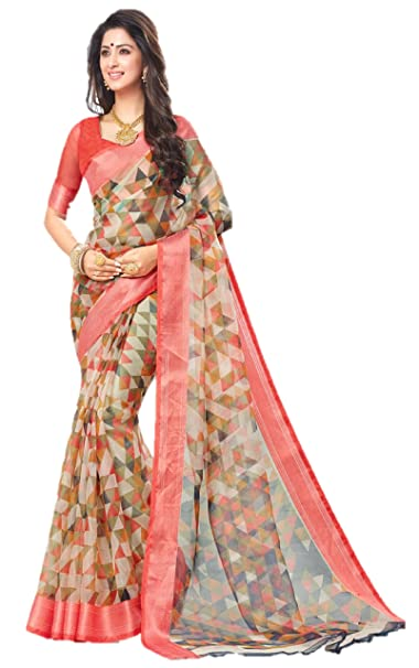 1f1aaf6dd8 Miraan Women's Organza Saree With Blouse Piece (Srh001_Multi-Coloured_One  Size): Amazon.in: Clothing & Accessories