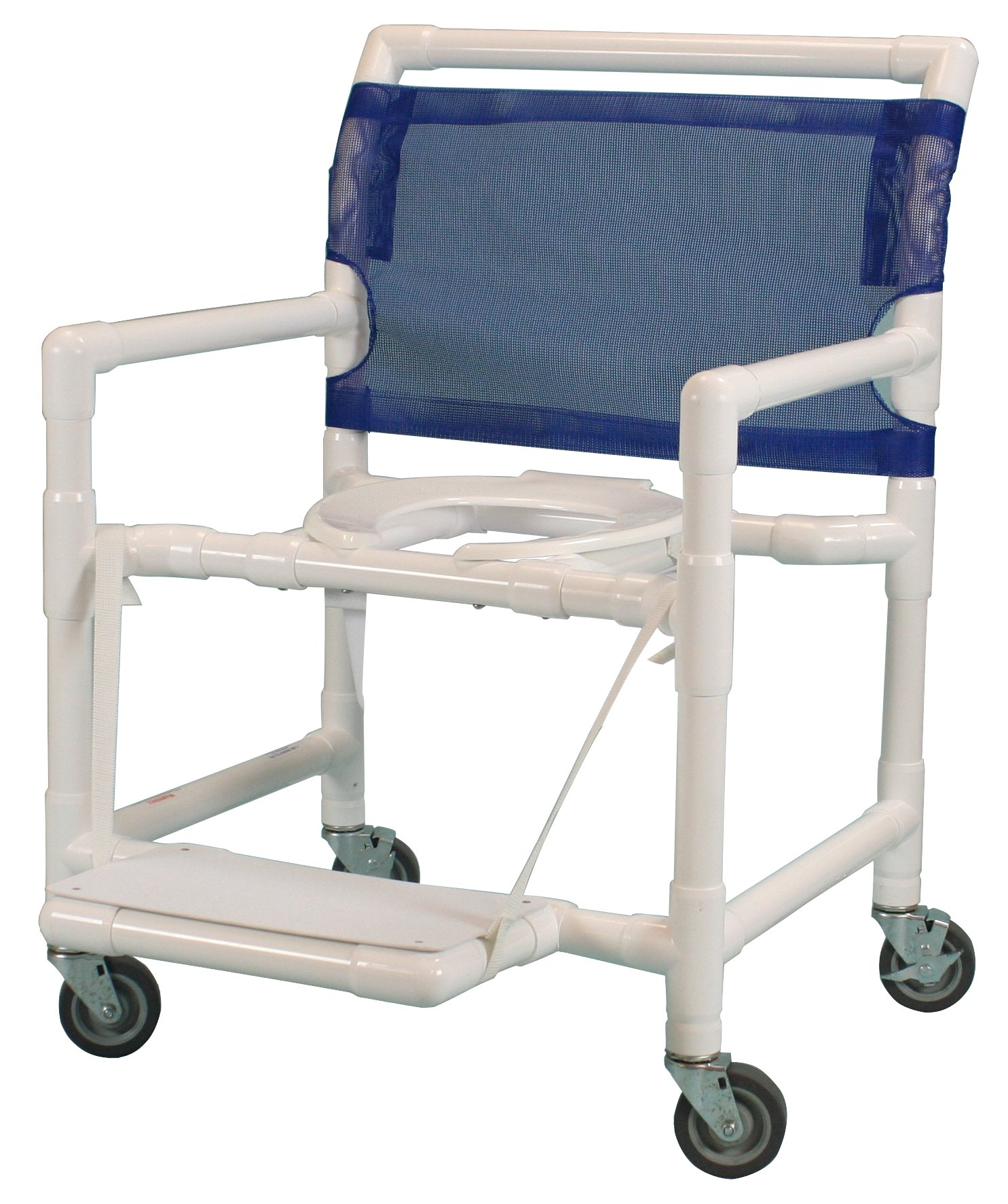 Care Products 550XWEFF-RB Extra Wide Shower Chair with 24'' Internal width, 3'' SX Casters/Fold Up Footrest, 39'' Height, 18'' width, 28'' Length