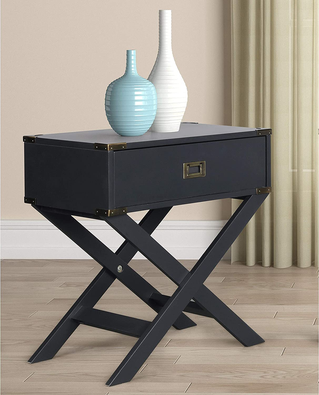 Roundhill Furniture Trava X-Cross Base Wood End Table with Drawer, Black