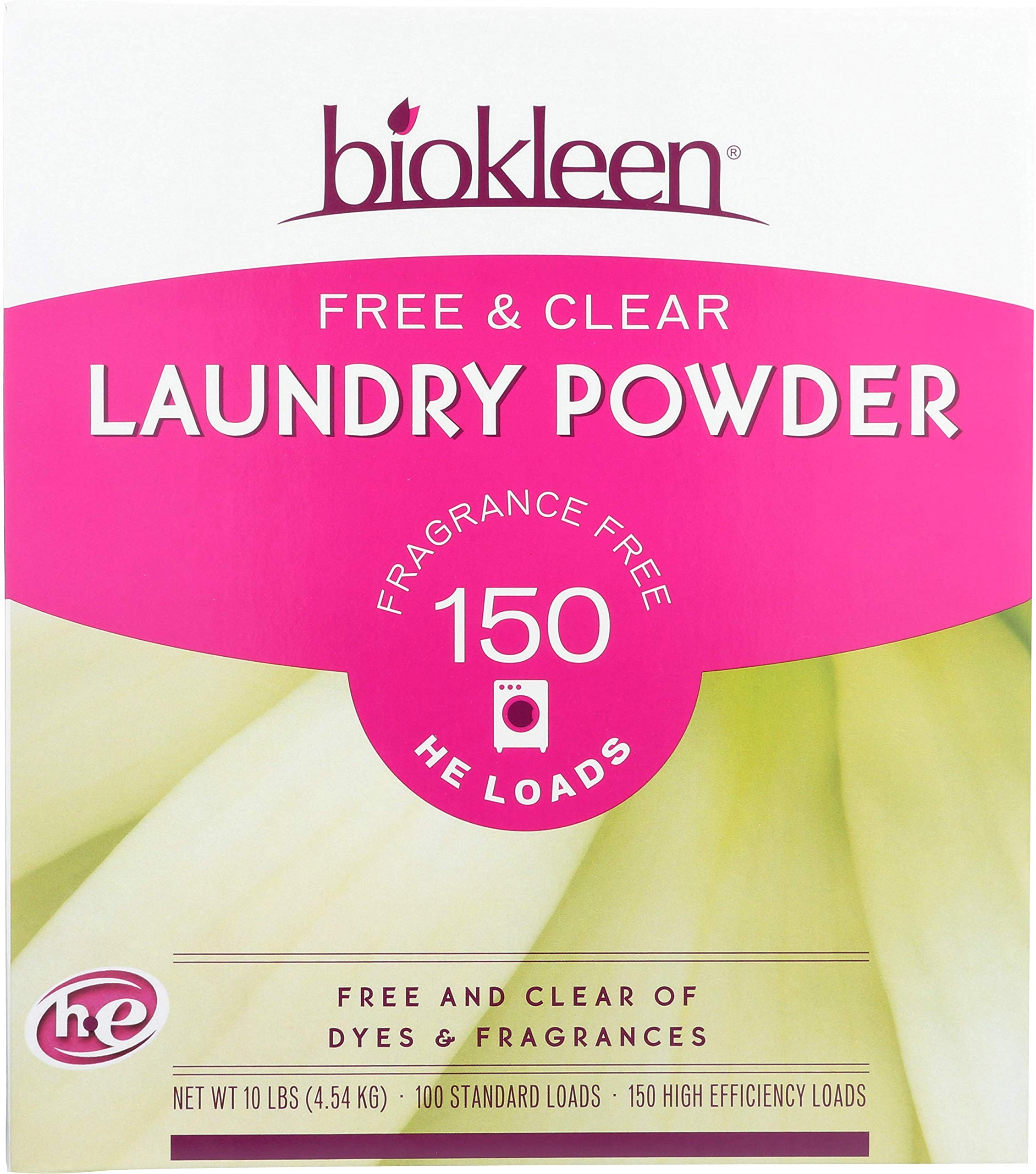 Biokleen Laundry Detergent Powder, Concentrated, Eco-Friendly, Non-Toxic, Plant-Based, No Artificial Fragrance or Preservatives, Free & Clear, Unscented, 10 Pounds - 150 HE Loads/100 Standard Loads by Biokleen