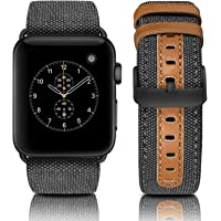 Jobese Compatible with Apple Watch Band 42mm 44mm 38mm 40mm, Canvas Fabric with Genuine Leather Strap Wristband Compatible with Apple Watch Series 4 3 2 1, Men Women