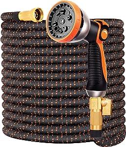 "Garden Hose Flexible Car Wash Water Hose - Super Durable 3750D,4-Layers Latex,3/4"" Nozzle Solid Brass Connectors with 10-Way Professional Zinc Water Spray Nozzle(100 FT, Orange)"