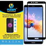 nzon Tempered Glass Full Coverage Easy Install Edge to Edge Scratch Proof HD Clear Screen Anti Fingerprint for Honor 7X(White)
