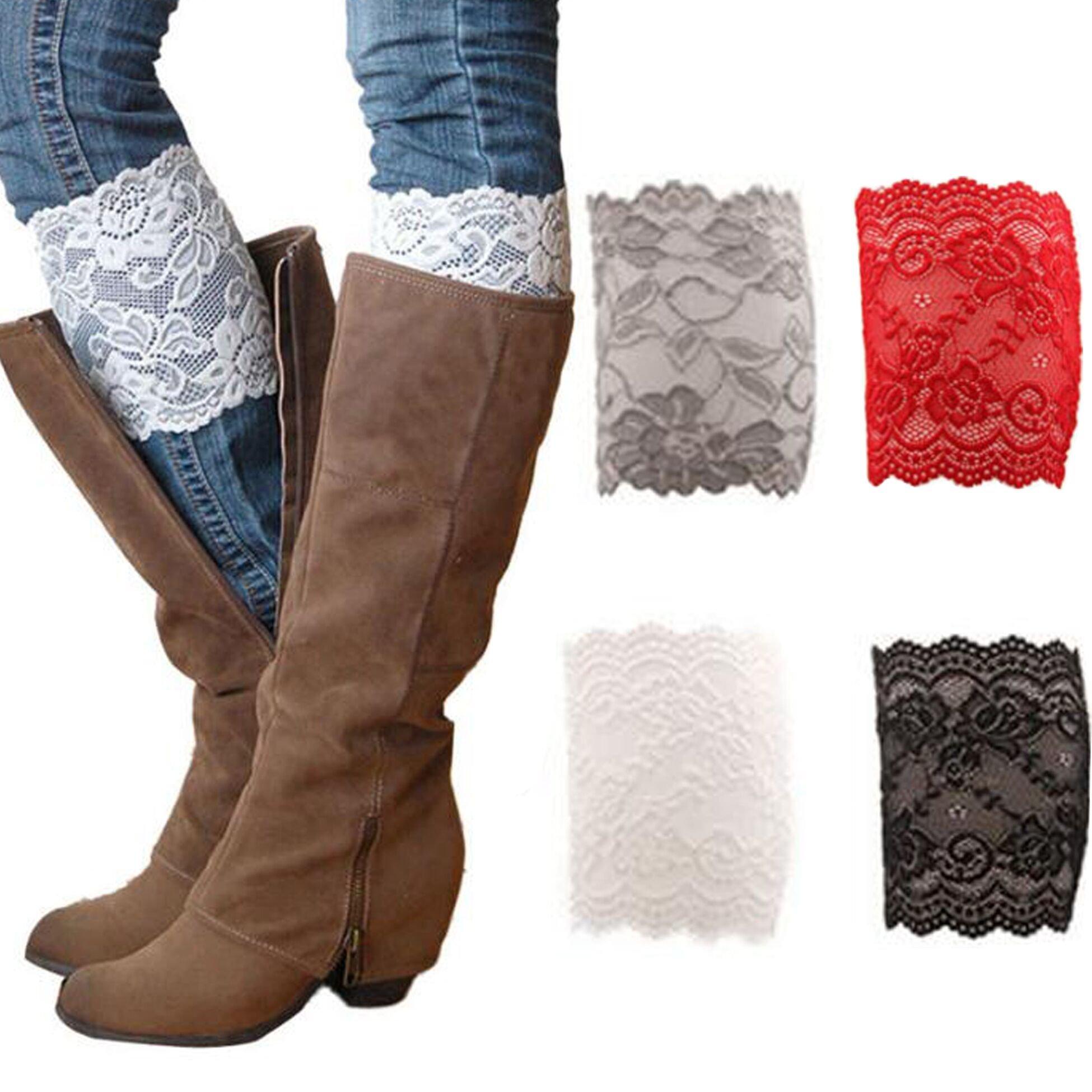 JALIYO Women Lace Floral Boot Cuffs Leg Warmer Socks 4 Pairs