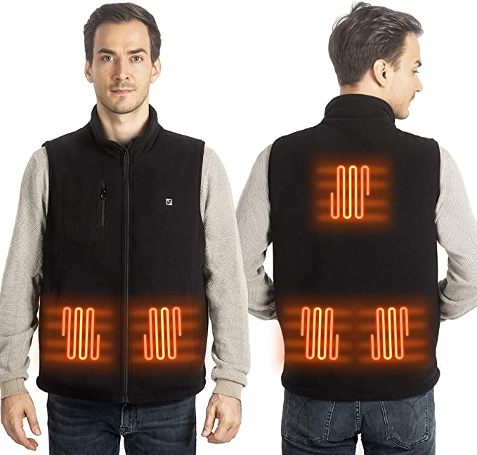 10000 mAh with Power Bank 3 levels Temperature Control N//D Heated Polar Fleece Vest Washable Body Warmer Lightweight for Man//Woman