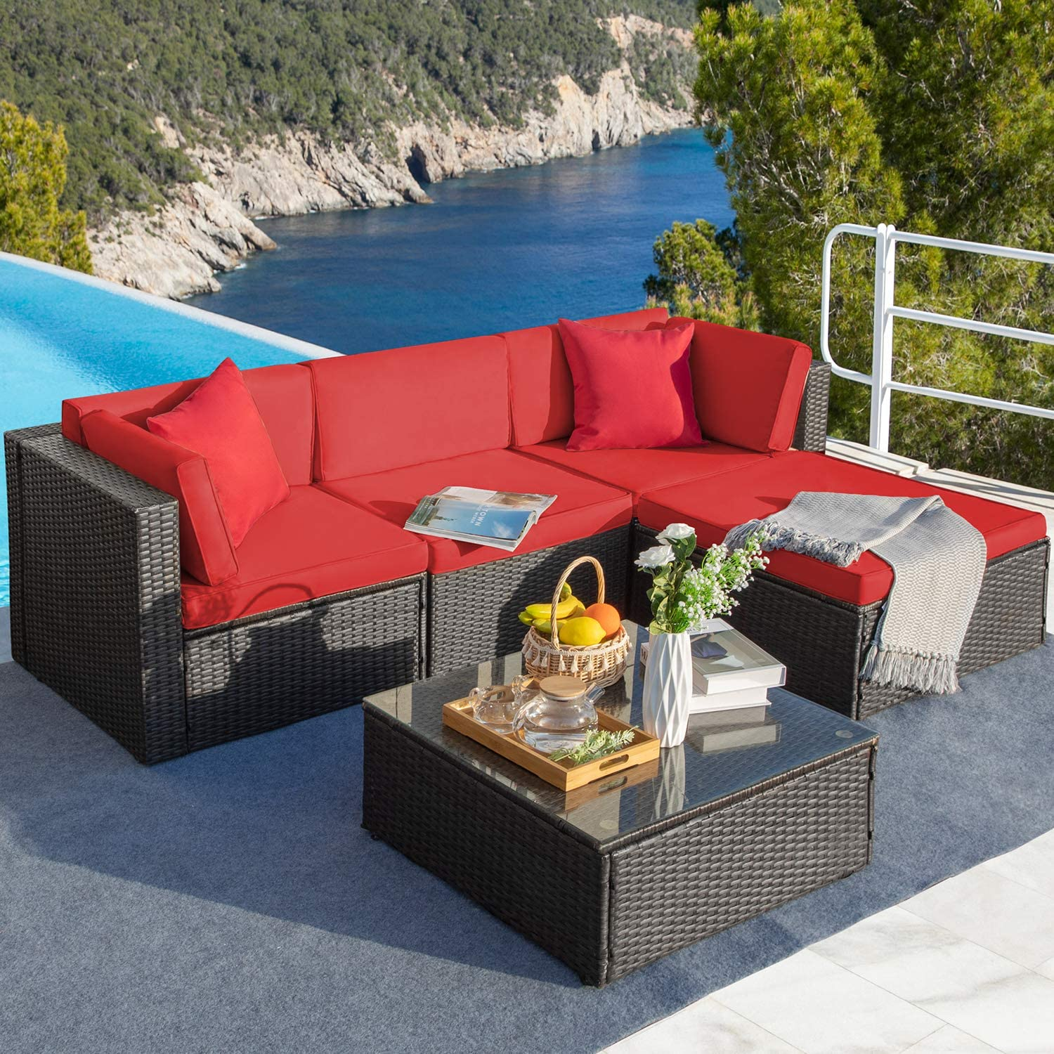Greesum GS-5PCS8-RD 5 Pieces Patio Sectional Furniture Set, Brown and Red