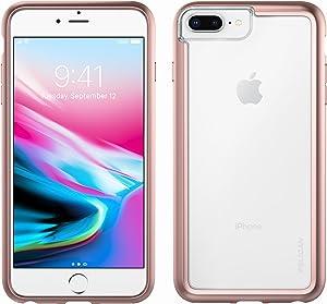 iPhone 8 Plus Case | Pelican Adventurer Case - fits iPhone 6/6s/7/8 Plus (Clear/Metallic Rose Gold)