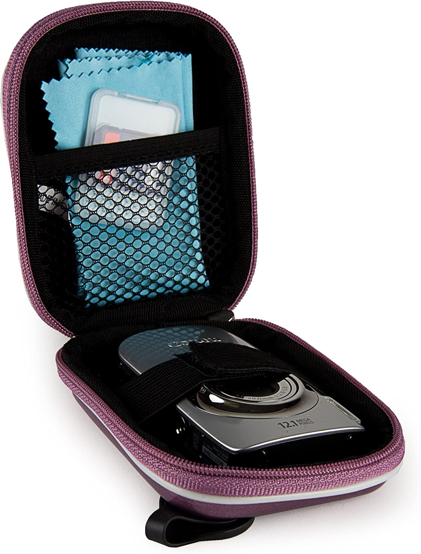 Purple VanGoddy Semi Hard EVA Carrying Case for Ivation IV WPDC20 Waterproof Digital Camera and Screen Protector