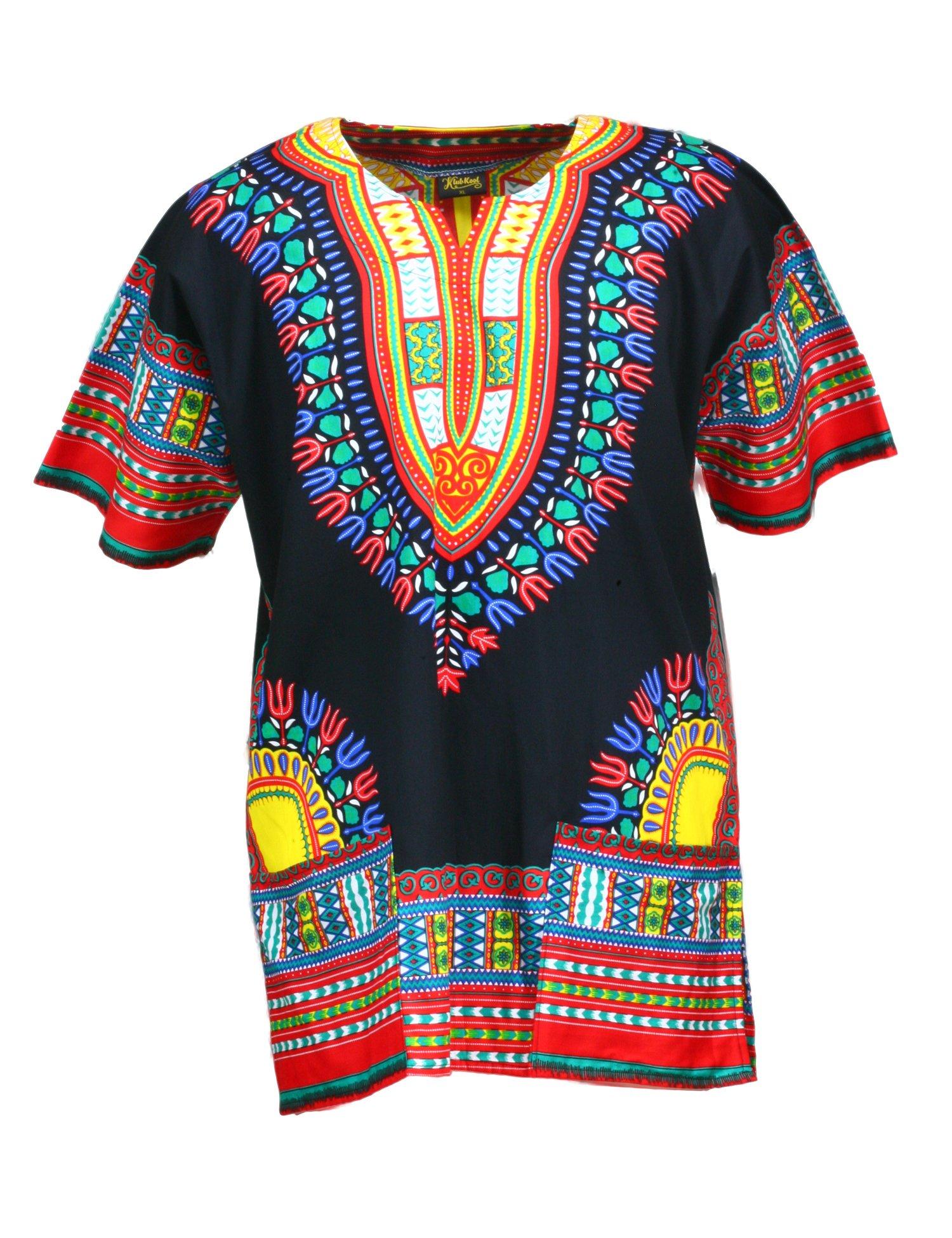 KlubKool Dashiki Shirt Tribal African Caftan Boho Unisex Top Shirt (Black/Red/Yellow,X-Large)