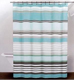 DKNY Fabric Shower Curtain   Urban Lines  Reef BlueAmazon com  CARO Home Fabric Shower Curtain   Grey  White  and  . Blue And Silver Shower Curtain. Home Design Ideas