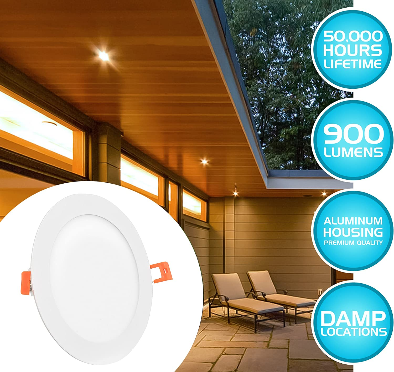 Junction Box Included Westgate Lighting 15W 6 Inch Ultra Thin Slim LED Recessed Light 4 Pack 3000K Warm White Ceiling Lights No Housing Required Dimmable Retrofit Downlight Smooth Trim