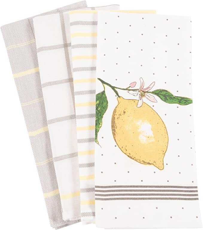 KAF Home Pantry Lemon Kitchen Dish Towel Set of 4, 100-Percent Cotton, 18 x 28-inch