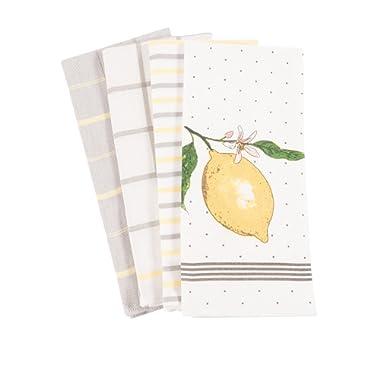 Pantry Lemon Kitchen Dish Towel Set of 4, 100-Percent Cotton, 18 x 28-inch