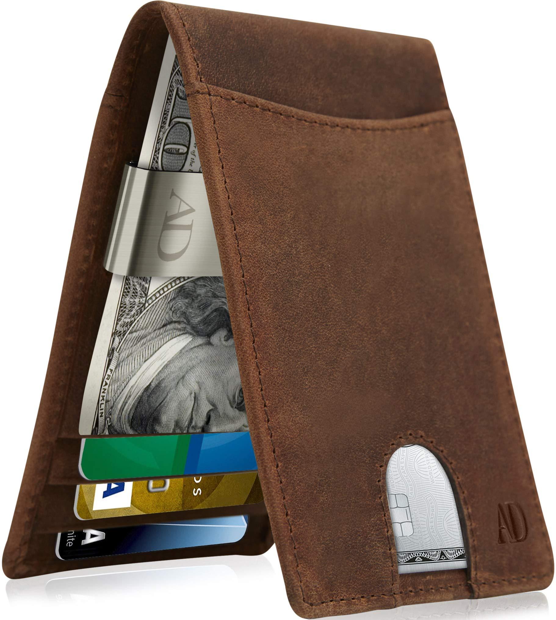 Slim Bifold Wallets For Men - Money Clip Wallet RFID Front Pocket Leather Thin Minimalist Mens Wallet Credit Card Holder