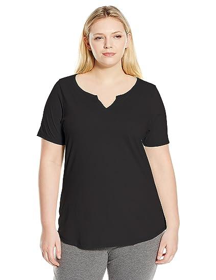 6da0a81421be Just My Size Women's Plus-Size Solid Split Neck Shirttail Hem Tee, Ebony,