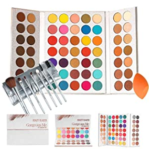 Gorgeous Me Eyeshadow Palette Pigmented Professional Makeup Pallet Long Lasting Eye Makeup Set 63 Colors Waterproof Matte And Shimmers Glitters With Brush Sets and Squeeze Sponge