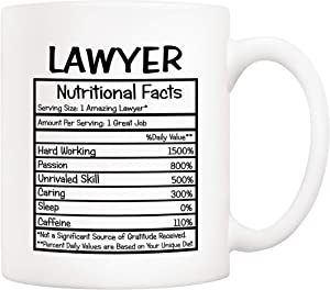 5Aup Gifts Lawyer Nutritional Facts Coffee Mug Christmas Gifts, Funny New Gag Novelty Gift from Friend Co-worker Colleague for Birthday, 11 Oz Novelty Ceramic Cups